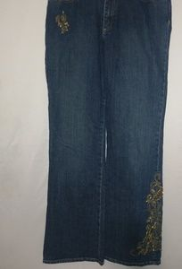 Reba Gold Embellished Dark Wash Jeans 12